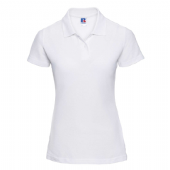 THURSO HIGH SCHOOL WHITE  LADIES FITTED POLO SHIRT WITH LOGO